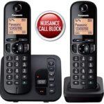 Panasonic KX-TGC222EB Digital Cordless Phone with LCD Display – Black (Twin)