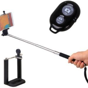 3 IN 1 Selfie Stick and Bluetooth Remote Button and Stand for Apple, Samsung, IOS and Android Phones