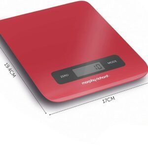 Morphy Richards Kitchen Scales, Accents Range, Digital Kitchen Scales, Touch Screen Stainless Steel, Red