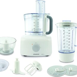 Kenwood MultiPro Home Food Processor, 3 Litre Bowl, 1.5 Litre Blender, Dough Hook, Whisk, Reversible Slicing and Grating Discs, Spice Mill, 1000 W, FDP646WH, White