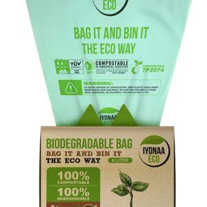 iyonaa Eco 6L x 125 Biodegradable Bin Bag, Extra Thick 18 Micron, European TUV Home and USA BPI Certified