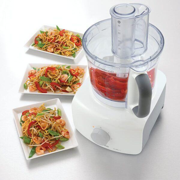 Kenwood MultiPro Home Food Processor, 3 Litre Bowl, 1.5 Litre Blender, Dough Hook, Whisk, Reversible Slicing and Grating Discs, Spice Mill, 1000 W, FDP646WH, White