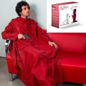 Extra Soft Snug Snug Kangoo Blanket with Sleeves for Adults – Red