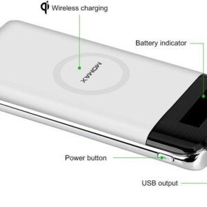 MOMAX iPower Air 10000mAh Wireless Charging Power Bank Wireless Charger Battery Pack – White